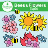 Summer Bees and Flowers Clip Art