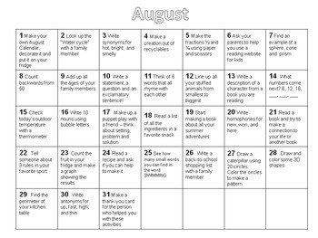 Summer Activity Calendars (Second Grade)