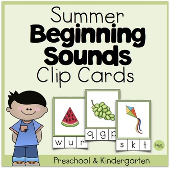 Summer Beginning Sounds Clip Cards