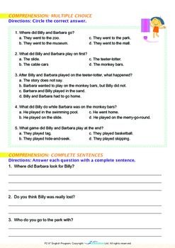 Summer - Billy and Barbara Go to the Park - Grade 2