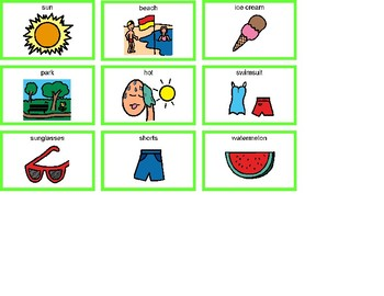 Summer Bingo! Single Board [speech therapy and autism]