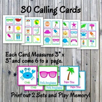 Summer Bingo Cards and Memory Game - End of Year - Printable - Up to 30 players
