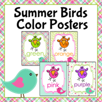 Summer Birds Theme Color Posters