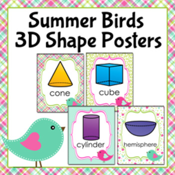 Summer Birds 3D Shape Posters