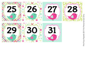 Summer Birds Calendar Numbers