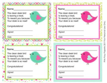 Summer Birds Clean Desk Awards