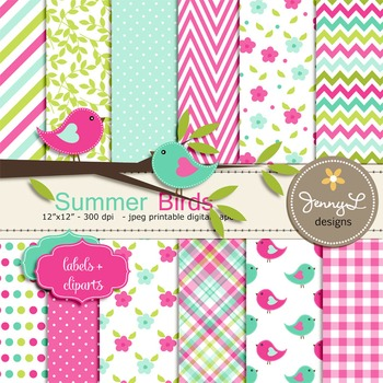 SET: Summer Birds Digital Papers and Clipart