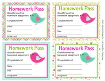 Summer Birds Homework Passes