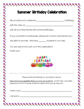 Summer Birthday Celebration Letter to Families