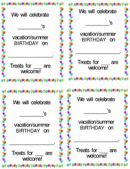 Summer Birthday Celebration Notes