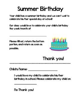 Summer Birthday Classroom Celebration Letter