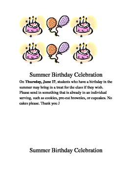 Summer Birthday Parent Notice