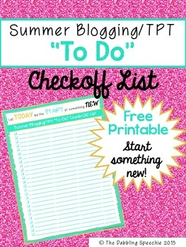 "Summer Blog/TPT ""TO DO"" Checklist FREE Printable"