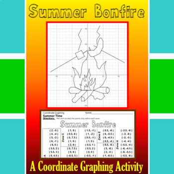 Summer Bonfire - A Summer Time Coordinate Graphing Activity