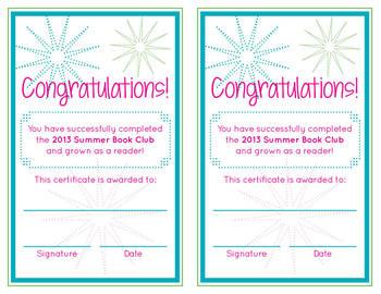 Summer Book Club Award