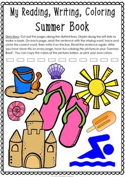 Summer Book - Read, Write, Color