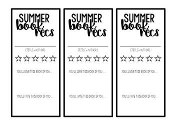 Summer Book Recommendation Form