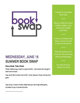 Summer Book Swap Exchange Flyer- editable for any grade