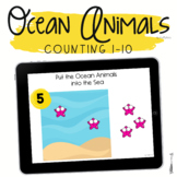 Boom Cards Summer for Preschool : Ocean Animals Counting 1-10