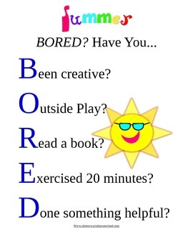 Summer Boredom Buster Chart and Coupons*free*
