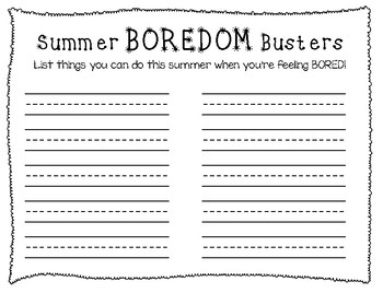Summer Boredom Buster Writing