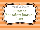 Summer Boredom Buster Writing