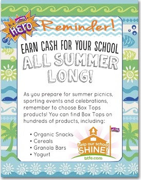 Summer Box Tops Reminder Graphic for FB