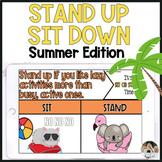 Summer Brain Break Stand Up Sit Down Game