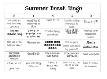 Summer Break Bingo