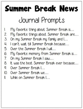 Summer Break News: Journal Prompts