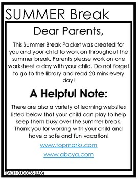 Summer Break Packet (Moving On To Kindergarten)