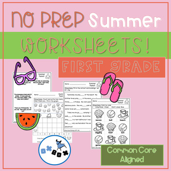Summer Activities and Worksheets First Grade: Common Core Aligned (NO PREP)