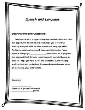 Summer Break Parent Letter