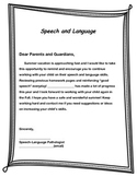 Summer Break Parent Letter