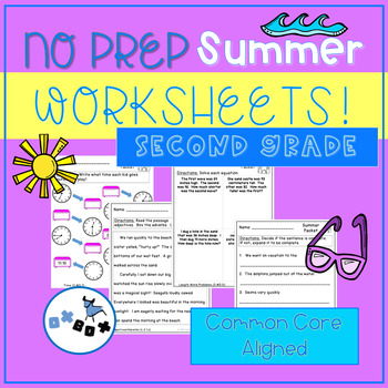 Summer Activities Second Grade Worksheets: Common Core Aligned (NO PREP)