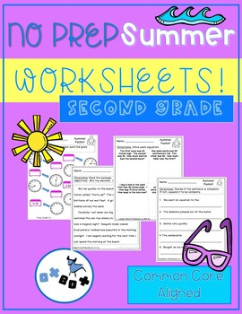 Summer Activities Second Grade Worksheets: Common Core Aligned (NO PREP)
