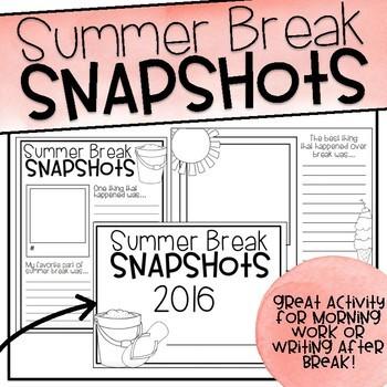 Summer Break Snapshots By Upper Elementary Adventures Tpt