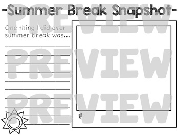 Summer Break Snapshots-a reflection and writing activity #buyin
