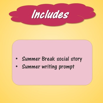 Summer Break Social Story and Writing Prompt