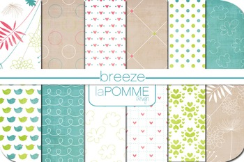 Summer Breeze Bright Digital Paper Pack