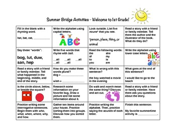 Summer Bridge Calendar