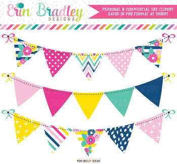 Summer Brights Bunting Clipart Banners