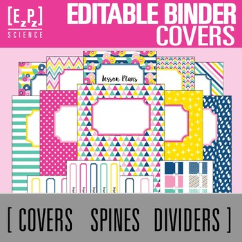 Summer Brights Editable Binder Covers, Spines and Divider Tabs