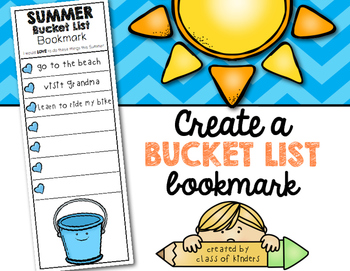 Summer Bucket List Bookmark Freebie for Kindergarten and First Grade