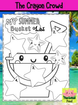 Summer Bucket List Coloring Page - The Crayon Crowd - End of the Year