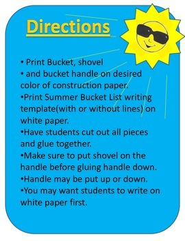Summer Bucket List Craft Template