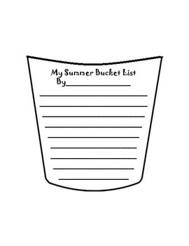 graphic relating to Bucket List Printable Template known as Summer months Bucket Listing Craft Template