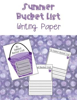 Summer Bucket List Writing Paper