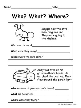 Summer Bugs Reading Comprehension: Who? What? Where?