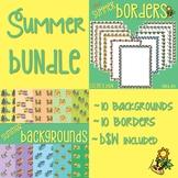 Summer Bundle: Borders, Frames $ Backgrounds Clip Art Set